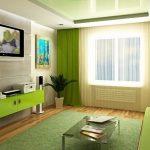 зеленый интерьер гостиной диван