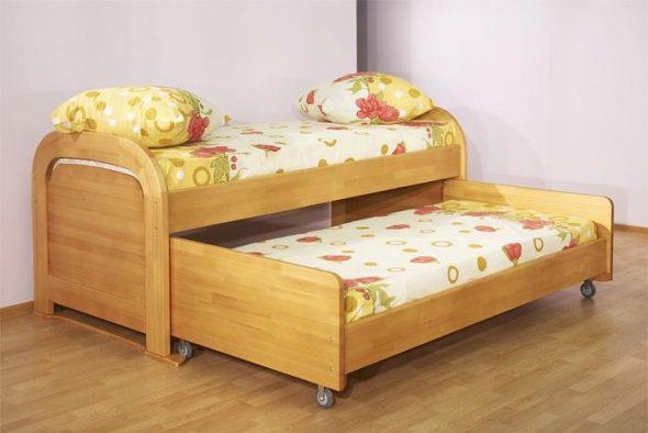 двухъярусная кровать с выдвижным ярусом