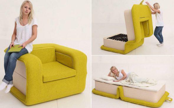 Кресло-кровать желтого цвета