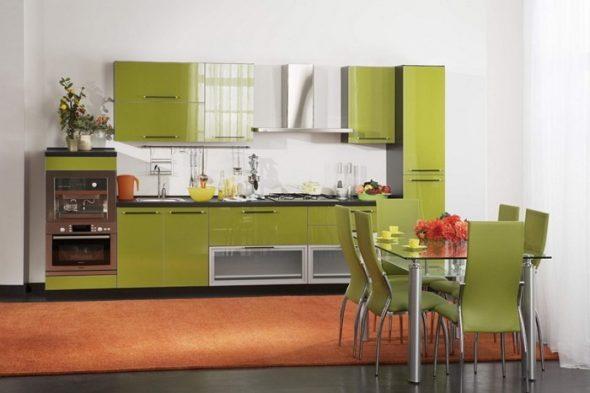 Кухонный гарнитур оливкового цвета