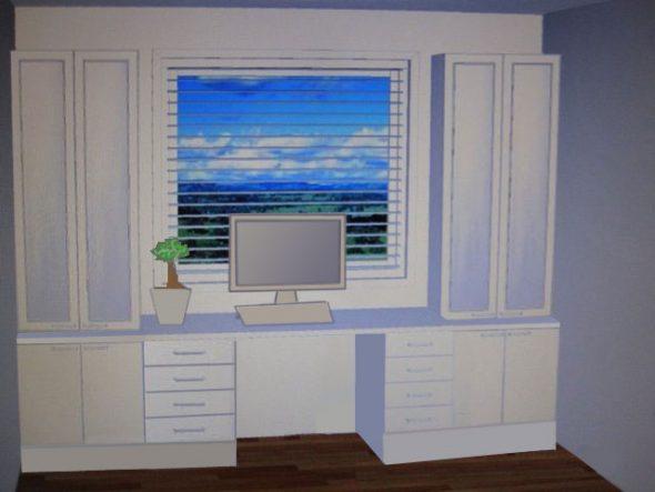 План со шкафами вокруг окна