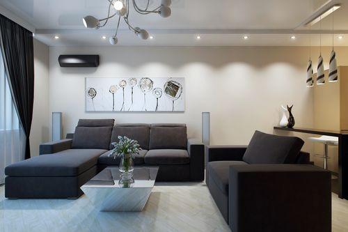 Серый угловой дизайн в гостиной