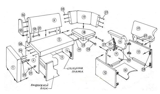 Схема сборки кухонных уголков своими руками 844