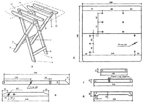 Как сделать складной столик своими руками чертежи