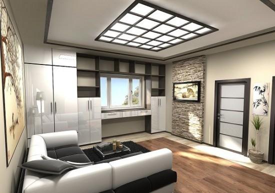 Шкаф вокруг окна в комнате исполняет роль гардеробной и кабинета