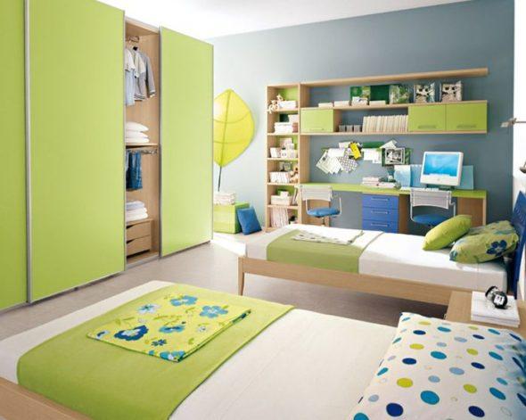 Шкафы купе в детскую комнату зеленого цвета