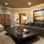 Темно серый диван в интерьере гостиной