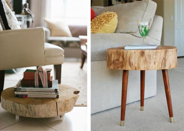 Журнальный столик своими руками из сруба дерева
