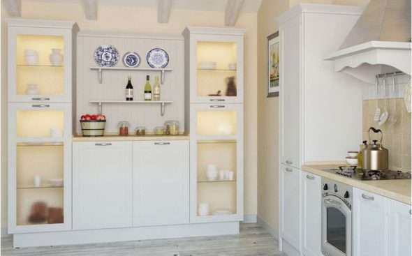 белый буфет в просторной кухне