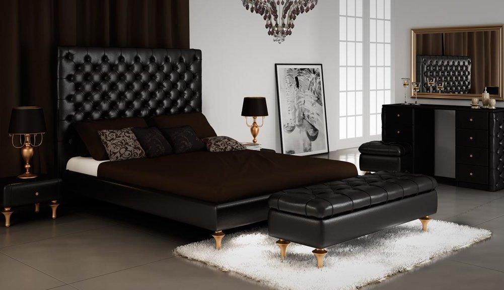 кровать с кушеткой черные