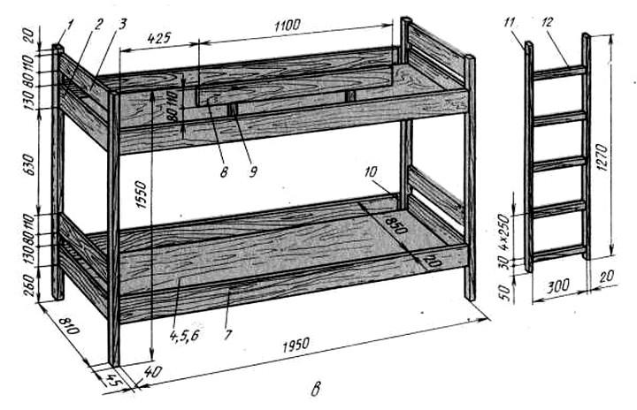 Схема двухъярусная кровать своими руками 37