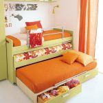 детская выдвижная кровать зеленая