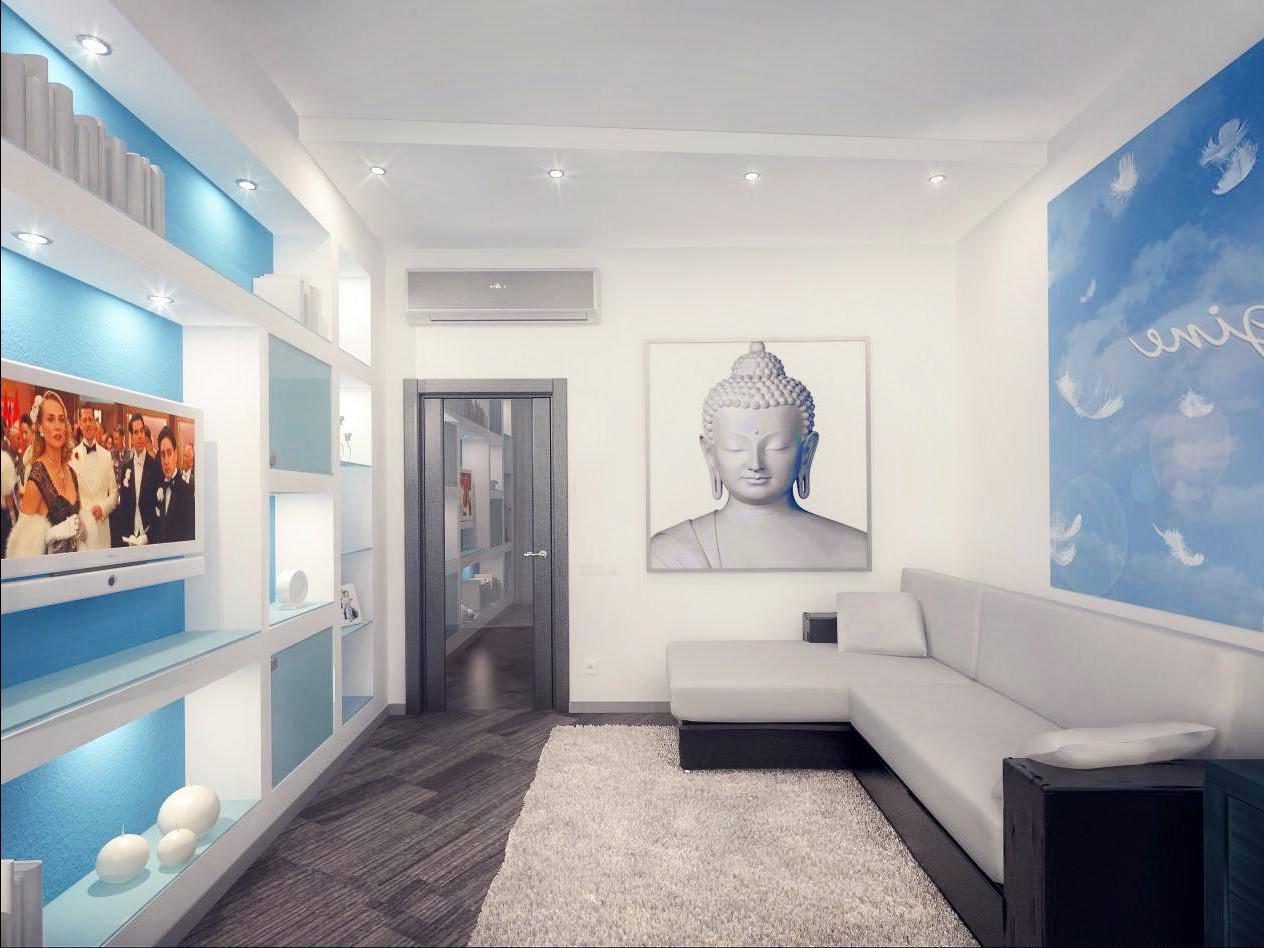 Интерьер узкой комнаты с диваном