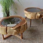 дизайнерские столики из спилов дерева и стекла