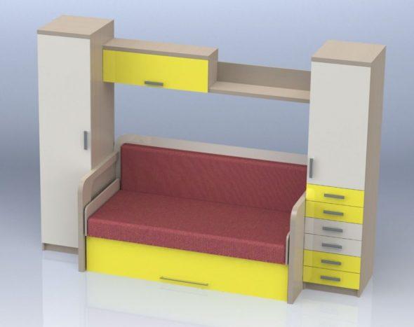 компактная кровать-трансформер для интерьерных решений