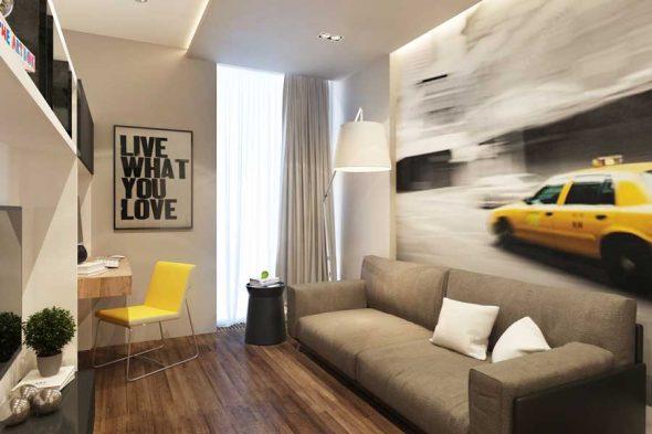 оформление спальни с диваном