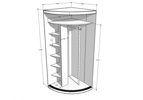 радиусный угловой шкаф купе