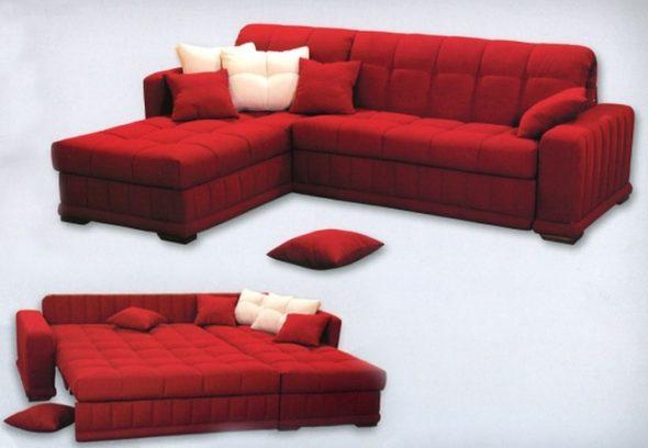 раскладной диван красного цвета