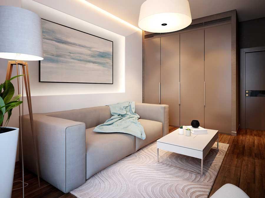 Дизайн комнаты 12 кв м в современном стиле для девушки
