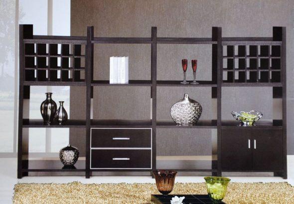 шкаф-перегородка темного цвета