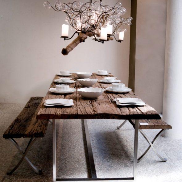 стол и скамьи из спилов