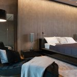 спальня с темной мебелью