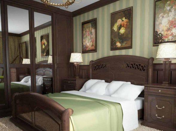 темная мебель в зеленой спальне
