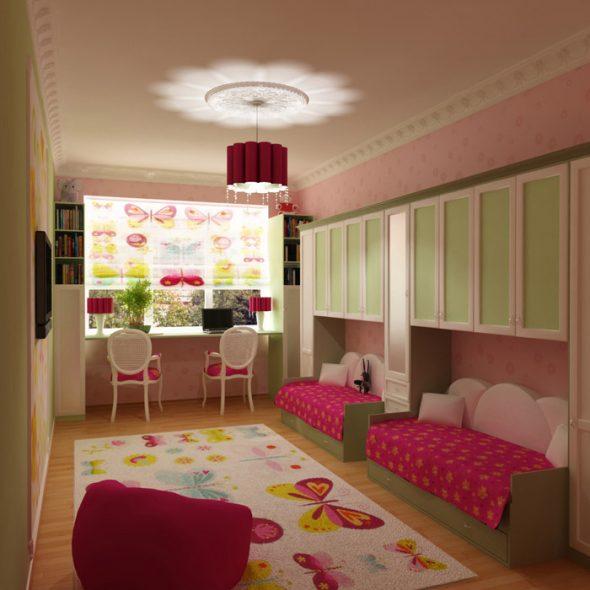 узкая детская комната для девочки