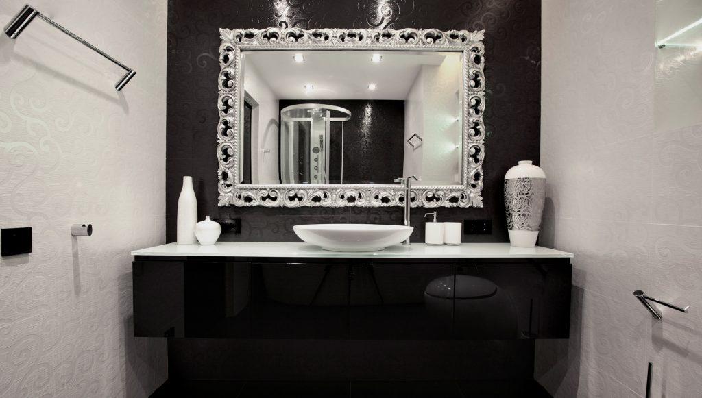 Дизайн ванные комнаты в черно-белых тонах