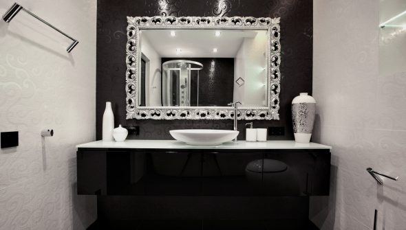 Черная мебель для ванных комнат