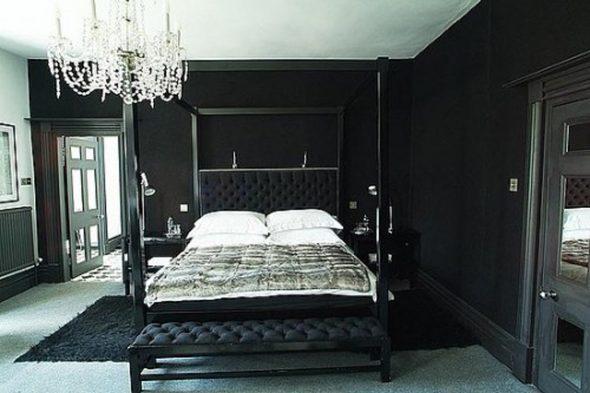 Черная спальня интерьер