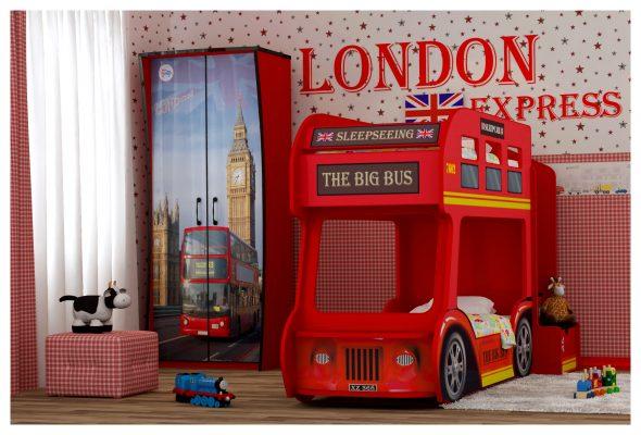 Детская двухъярусная кровать-автобус London (Red River)