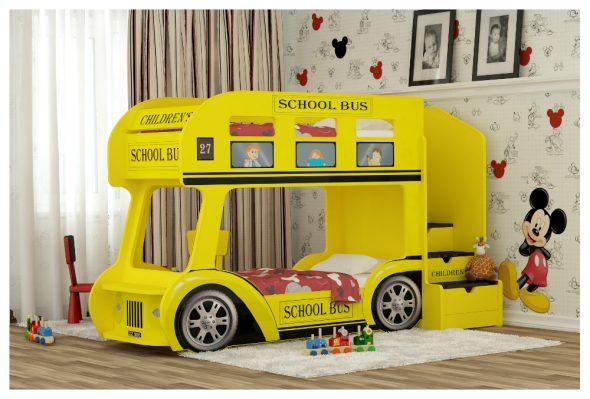 Двухъярусная кровать автобус желтого цвета