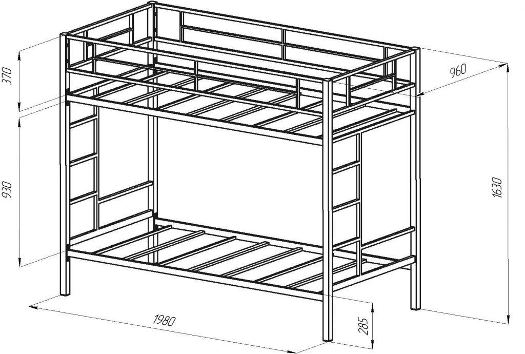 Двухъярусная кровать чертежи и схемы из металла