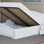двуспальная кровать подъемный механизм белая