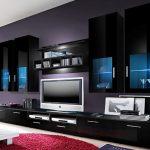 Гостиная в современном черном дизайне