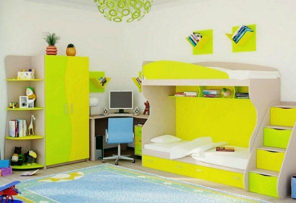 Яркая кровать чердак для двоих детей