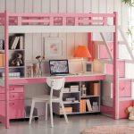 кровать чердак с рабочей зоной розовая