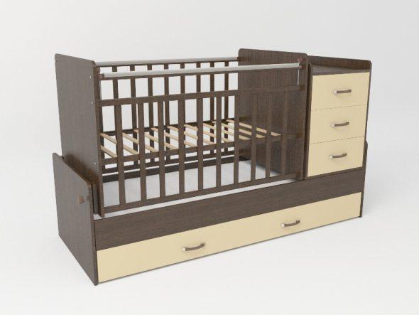 Кровать-трансформер детская венге бежевый