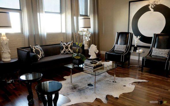 Мебель с черной кожаной обивкой
