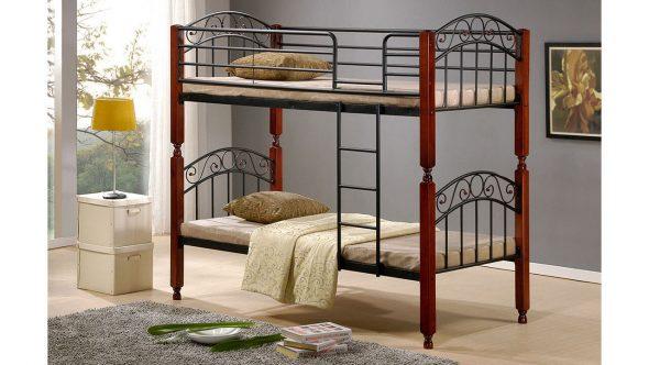 Металлическая двухъярусная кровать для взрослых