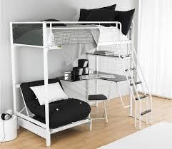 Металлическая двухъярусная кровать для взрослых с рабочим столом и креслом
