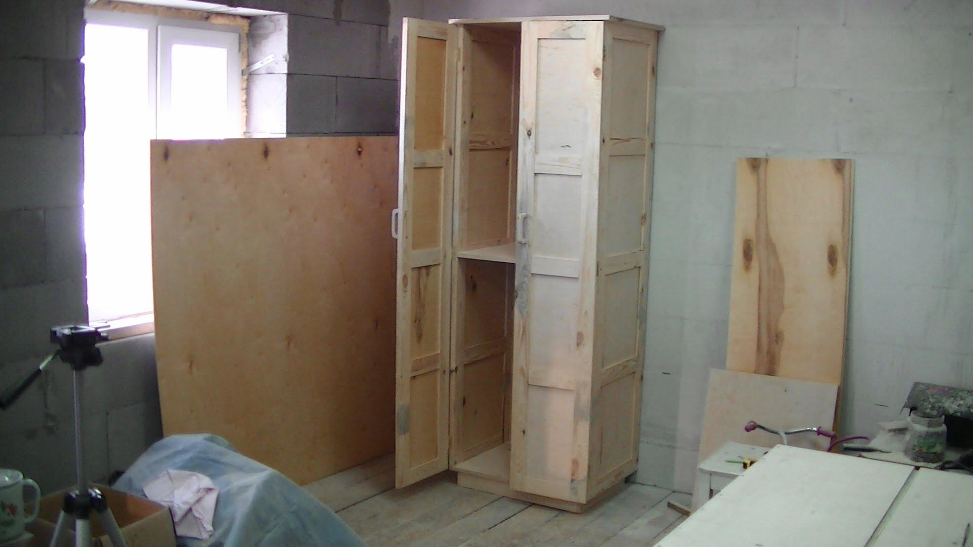 Деревянный встроенный шкаф для туалета своими руками 27