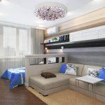 дизайн гостиной с замшевым диваном