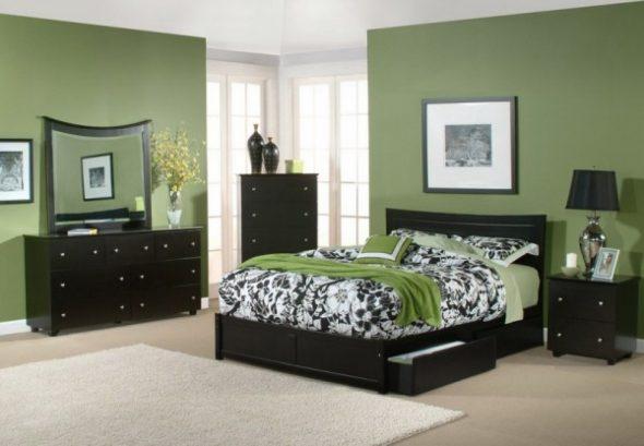 Спальня с черной мебелью дизайн