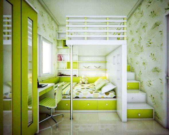 Стационарный вариант двухярусной кровати