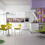 белая кухня с яркими стенами