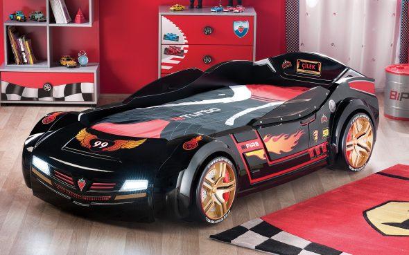 кровать черная машина