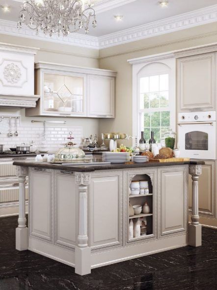черный пол в белой кухне