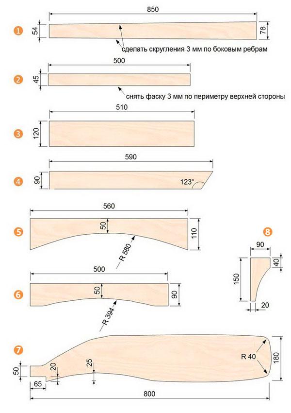 Чертежи мебели из дерева с размерами своими руками 66